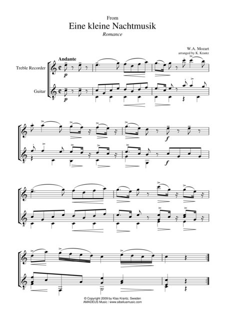 Romance for treble recorder and guitar