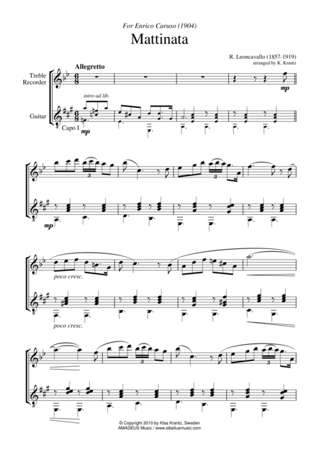 Mattinata for treble recorder and guitar