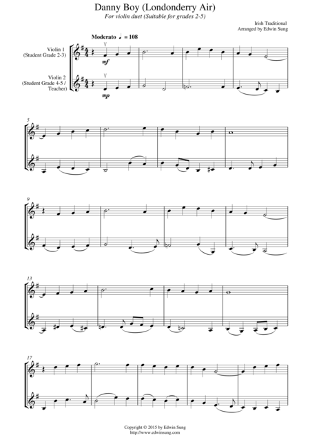 Danny Boy (Londonderry Air) (for violin duet, suitable for grades 2-5)