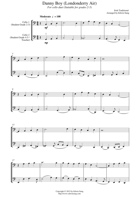 Danny Boy (Londonderry Air) (for cello duet, suitable for grades 2-5)