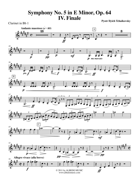 ‪Tchaikovsky‬ Symphony No. 5, Movement IV - Clarinet in Bb 1 (Transposed Part), Op. 64
