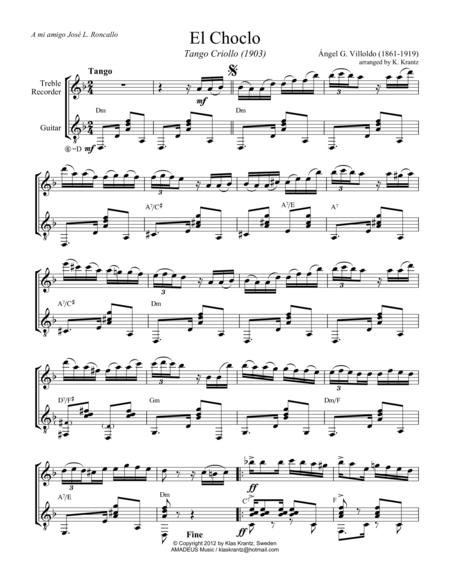 El choclo (tango) for treble recorder and guitar