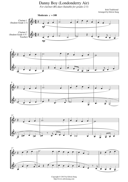 Danny Boy (Londonderry Air) (for clarinet (Bb) duet, suitable for grades 2-5)