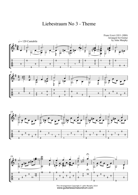 Liebestraum No 3 - Theme Liszt for Guitar