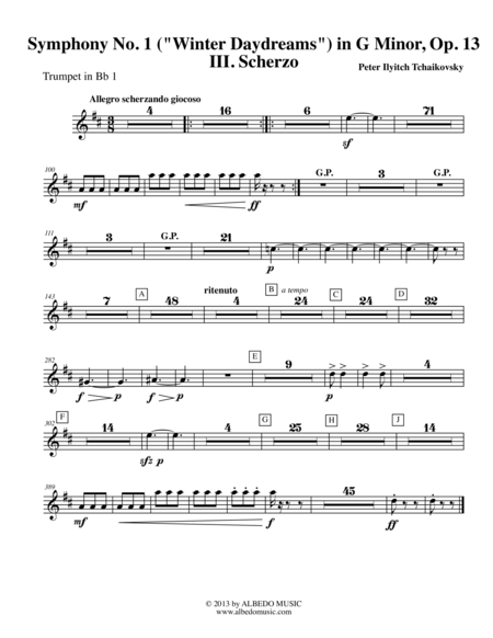 Tchaikovsky Symphony No. 1, Movement III - Trumpet in Bb 1 (Transposed Part), Op. 13