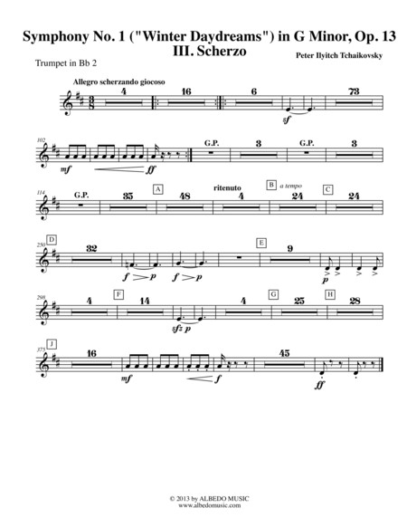 Tchaikovsky Symphony No. 1, Movement III - Trumpet in Bb 2 (Transposed Part), Op. 13