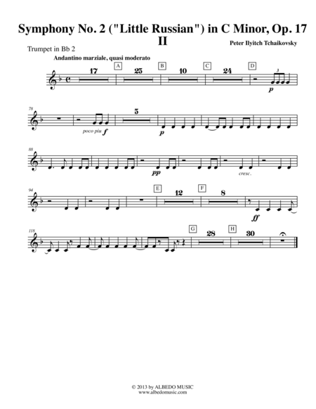 Tchaikovsky Symphony No. 2, Movement II - Trumpet in Bb 2 (Transposed Part), Op. 17