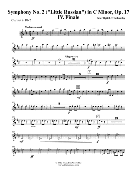 Tchaikovsky Symphony No. 2, Movement IV - Clarinet in Bb 2 (Transposed Part), Op. 17
