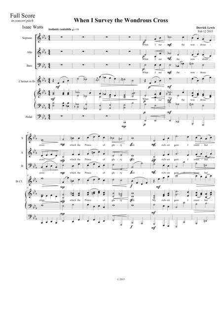 When I Survey the Wondrous Cross: SAB Choir, organ, and optional clarinet in B flat