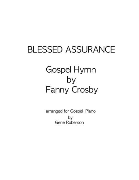 Blessed Assurance  Gospel Piano