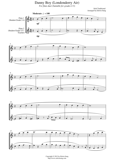 Danny Boy (Londonderry Air) (for flute duet, suitable for grades 2-5)