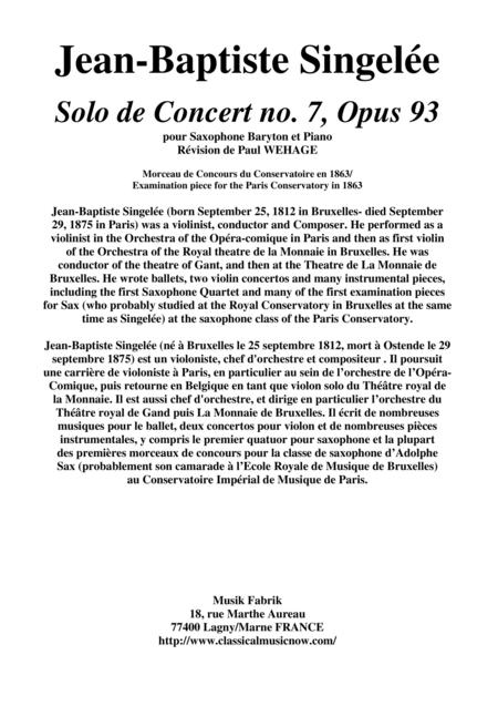 Jean-Baptiste Singelée Solo de Concert no. 7, Opus 93 pour Saxophone Baryton et Piano