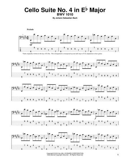 Cello Suite No. 4 In E-Flat Major, BWV 1010