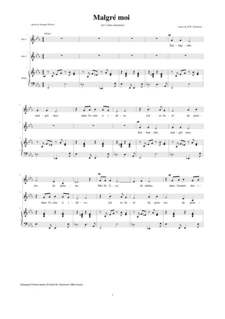 Malgré moi vocal duo with piano