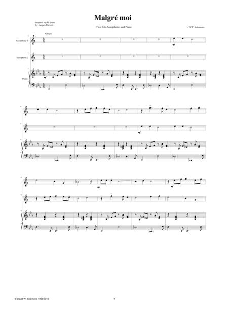 Malgré moi 2 alto saxophones with piano