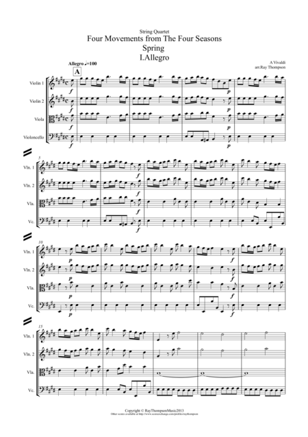 Vivaldi: Four Seasons: A Suite of 4 Movements (easier and abridged):  - String Quartet