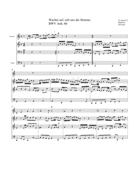 Wachet auf, ruft uns die Stimme, BWV Anh. 66 for organ and trumpet