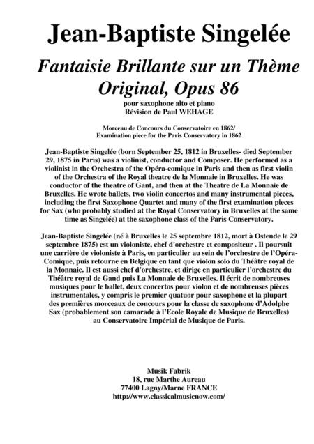 Jean-Baptiste Singelée: Fantaisie Brillante sur un Thème Original, Opus 86 pour saxophone alto et piano