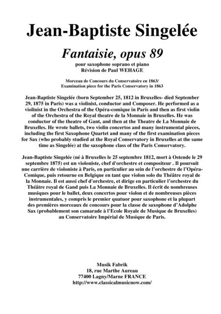 Jean-Baptiste Singelée: Fantaisie, opus 89 pour saxophone soprano et piano