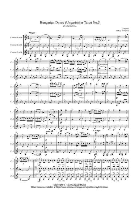Brahms: Hungarian Dance (Ungarischer Tanz) No.5 arr.clarinet trio