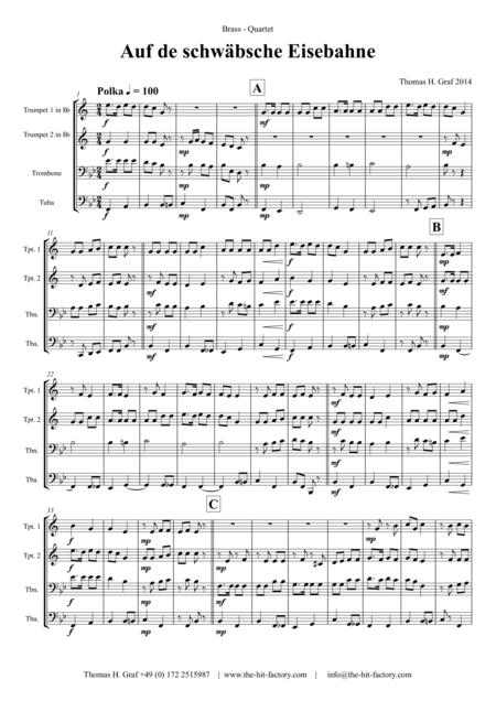 Auf der schäbsche Eisebahne  - Swabian anthem/Oktoberfest  - Brass Quartet
