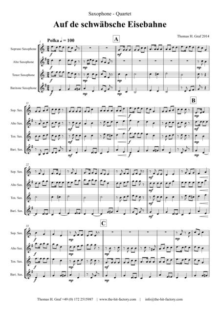 Auf der schäbsche Eisebahne  - Swabian anthem/Oktoberfest  - Saxophone Quartet