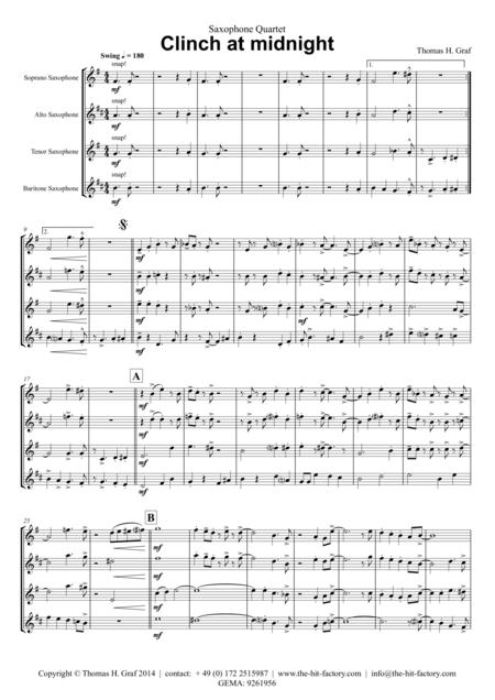 Clinch at midnight - Charleston/Two Step - Saxophone Quartet