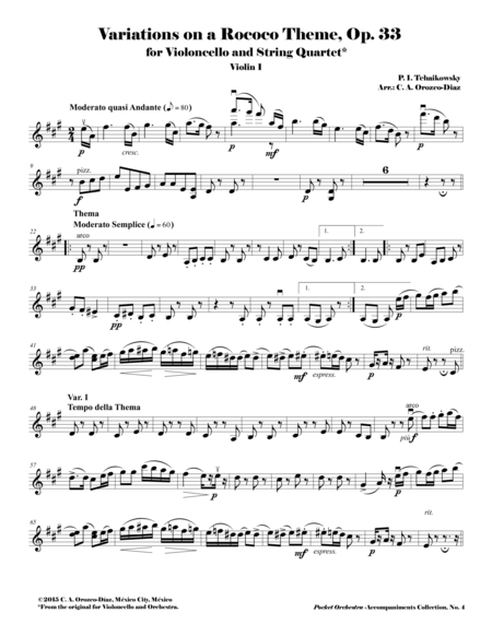 Tchaikowsky - Variations on a Rococo Theme for Violoncello and Orchestra, Op. 33 (Accompaniment Reduction for String Quartet) PARTS