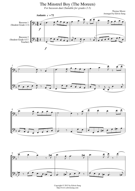 The Minstrel Boy (The Moreen) (for bassoon duet, suitable for grades 2-5)