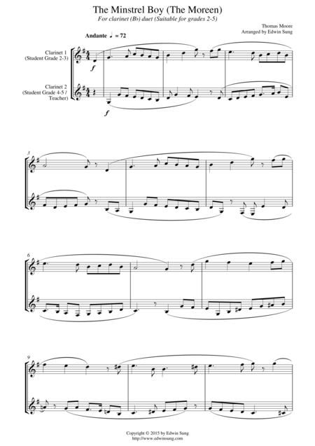 The Minstrel Boy (The Moreen) (for clarinet (Bb) duet, suitable for grades 2-5)