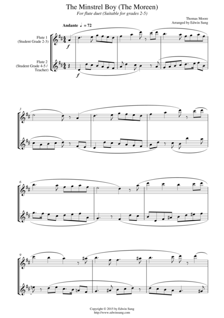 The Minstrel Boy (The Moreen) (for flute duet, suitable for grades 2-5)