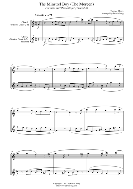 The Minstrel Boy (The Moreen) (for oboe duet, suitable for grades 2-5)