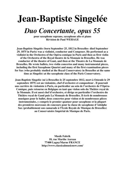 Jean-Baptiste Singelée Duo Concertante, opus 55 pour saxophone soprano, saxophone alto et piano