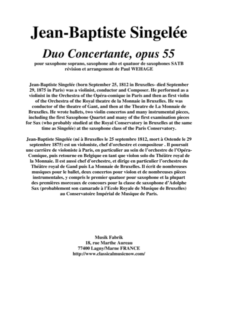 Jean-Baptiste Singelée Duo Concertante, Opus 55 arranged for soprano saxophone, alto saxophone and SATB saxophone quartet by Paul Wehage, score and solo parts