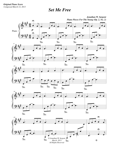 Set Me Free - Piano Pieces For The Young No. 2, Op. 2