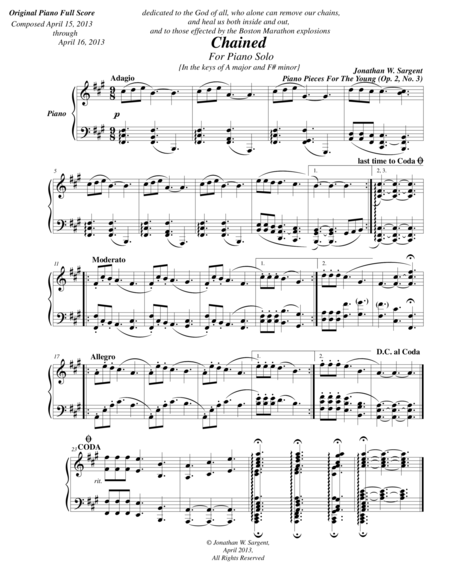 Chained - Piano Pieces For The Young No. 3, Op. 2