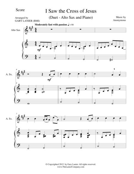 I SAW THE CROSS OF JESUS (Duet – Alto Sax and Piano/Score and Parts)