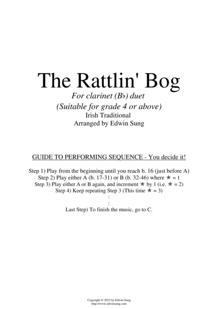 The Rattlin' Bog (for clarinet (Bb) duet, suitable for grade 4 or above)