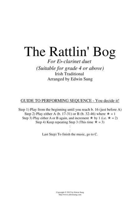 The Rattlin' Bog (for Eb-clarinet duet, suitable for grade 4 or above)