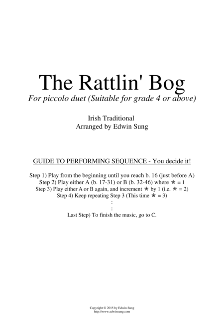 The Rattlin' Bog (for piccolo duet, suitable for grade 4 or above)