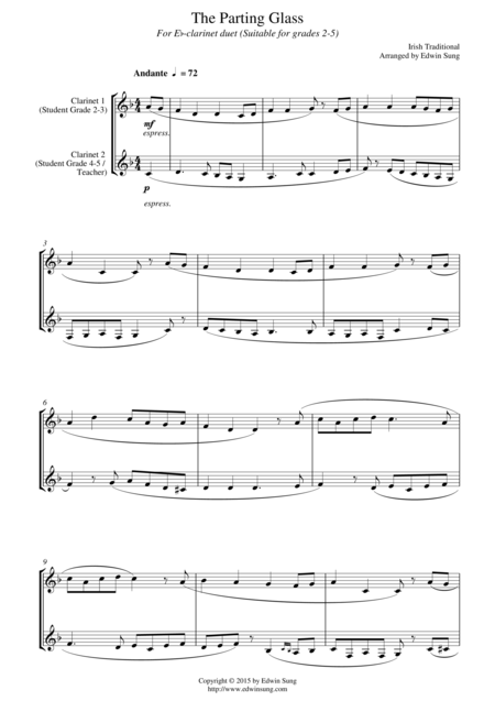 The Parting Glass (for Eb-clarinet duet, suitable for grades 2-5)