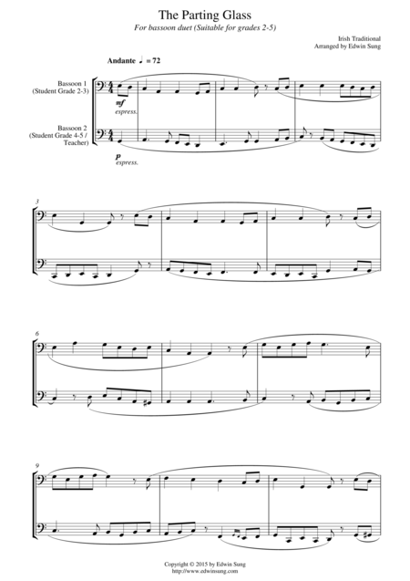 The Parting Glass (for bassoon duet, suitable for grades 2-5)