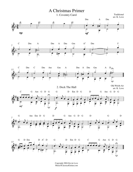 A Christmas Primer for Guitar