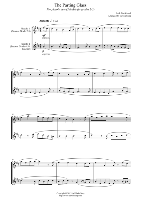 The Parting Glass (for piccolo duet, suitable for grades 2-5)
