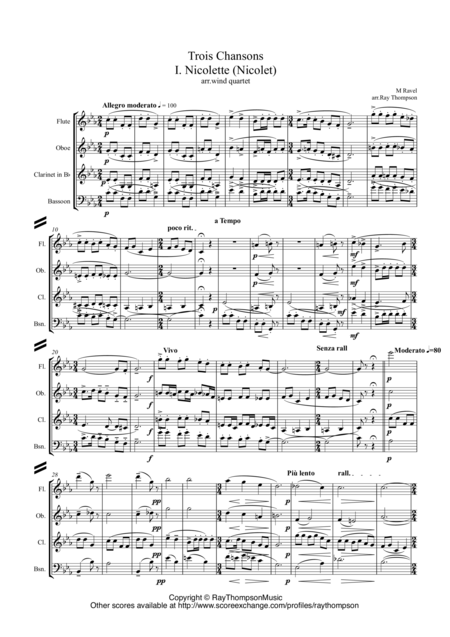 Ravel: Trois Chansons (Three Songs) (includes Three Lovely Birds of Paradise) arr.wind quartet