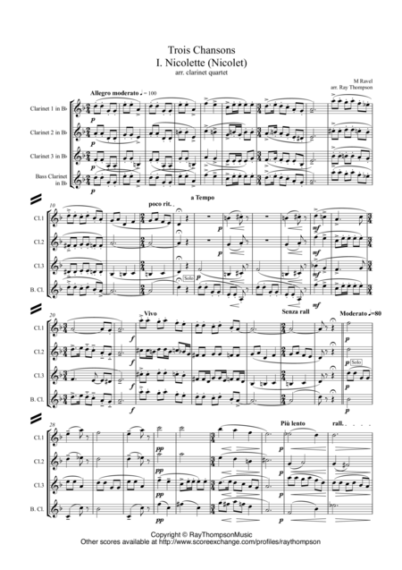 Ravel: Trois Chansons (Three Songs) (includes Three Lovely Birds of Paradise) arr.clarinet quartet