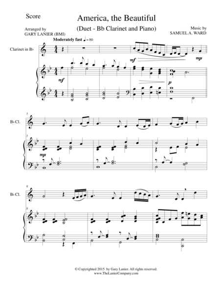 AMERICA, THE BEAUTIFUL (Duet – Bb Clarinet and Piano/Score and Parts)