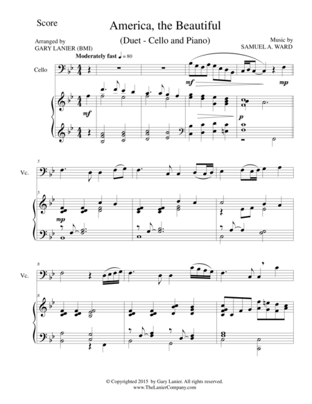 AMERICA, THE BEAUTIFUL (Duet – Cello and Piano/Score and Parts)