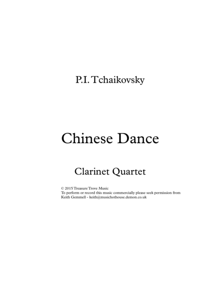 Chinese Dance: Clarinet Quartet