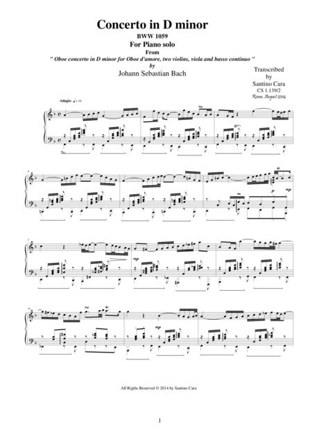 J.S-Bach - Oboe concerto in D minor BWV 1059 - mov. 2 Adagio-Piano version
